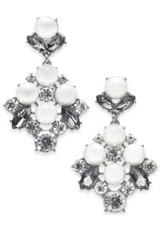 Charter Club Silver-Tone Imitation Pearl & Crystal Drop Earrings, Created for Macy's