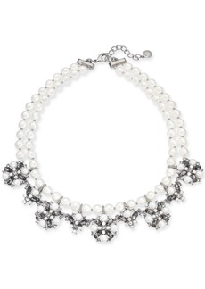 """Charter Club Silver-Tone Imitation Pearl, Crystal & Stone Double Row Collar Necklace, 17"""" + 2"""" extender, Created for Macy's"""