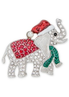 Charter Club Holiday Lane Silver-Tone Pave & Imitation Pearl Elephant Pin, Created for Macy's
