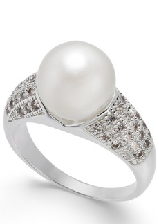 Charter Club Silver-Tone Pave & Imitation Pearl Ring, Created for Macy's