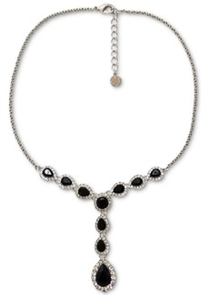 """Charter Club Silver-Tone Pave & Jet Crystal Lariat Necklace, 17"""" + 2"""" extender, Created for Macy's"""