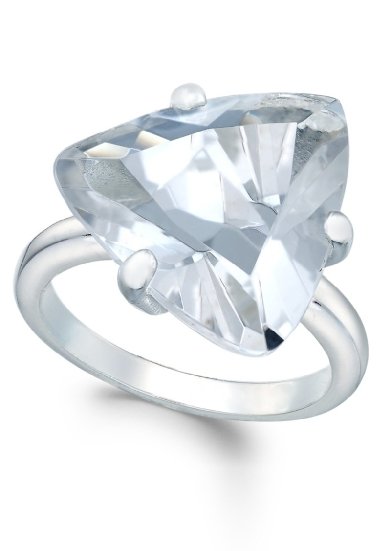 Charter Club Silver-Tone Trillion Crystal Solitaire Ring, Only at Macy's