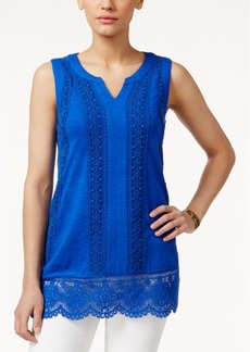 Charter Club Sleeveless Crochet-Trim Top, Only at Macy's
