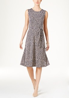 Charter Club Petite Belted Dot-Print Fit & Flare Dress, Only at Macy's