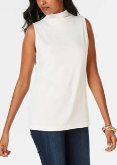 Charter Club, Sleeveless Solid Textured Mock Neck Top, Created for Macy's