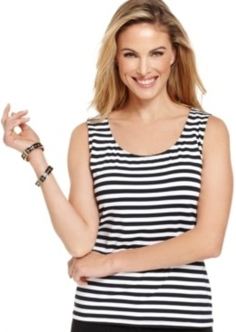 Charter Club Petite Sleeveless Striped Tank Top