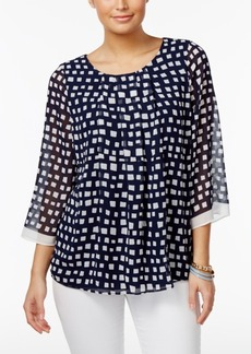 Charter Club Square-Print Sheer-Sleeve Top, Only at Macy's