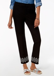 Charter Club Straight-Leg Embroidered-Hem Pants, Created for Macy's