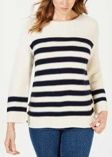 Charter Club Striped Button-Trim Sweater, Created for Macy's