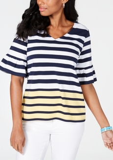Charter Club Petite Striped Button-Up Top, Created for Macy's