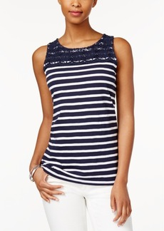 Charter Club Striped Crochet-Yoke Top, Only at Macy's