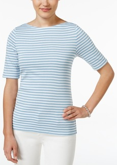 Charter Club Striped Elbow-Sleeve Top, Only at Macy's