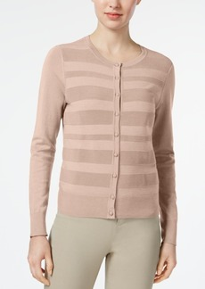 Charter Club Striped-Front Cardigan, Created for Macy's