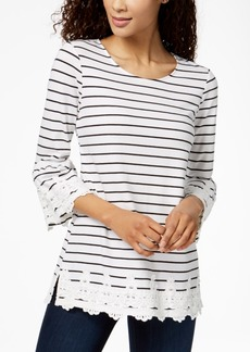 Charter Club Petite Striped Lace-Trim Tunic, Created for Macy's