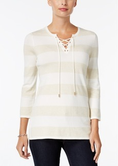 Charter Club Striped Lace-Up Sweater, Only at Macy's