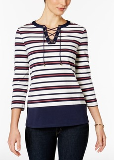 Charter Club Striped Lace-Up Top, Only at Macy's
