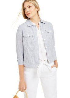 Charter Club Striped Linen Jacket, Created For Macy's