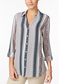 Charter Club Striped Roll-Tab Blouse, Created for Macy's