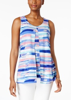Charter Club Striped Split-Front Top, Created for Macy's
