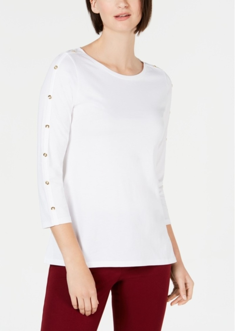 Charter Club Supima Cotton Embellished Top, Created for Macy's