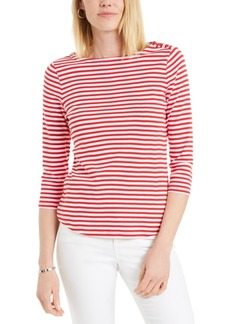 Charter Club Supima Cotton Striped Top, Created for Macy's