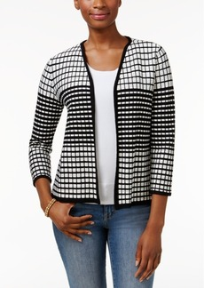 Charter Club Textured Grid-Print Cardigan, Only at Macy's