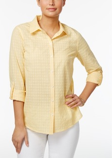 Charter Club Textured Windowpane Shirt, Created for Macy's