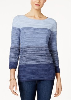 Charter Club Three-Quarter-Sleeve Striped Sweater, Only at Macy's