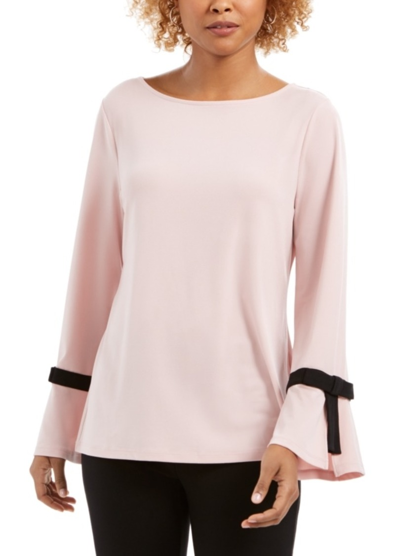 Charter Club Tie-Sleeve Crepe Top, Created for Macy's