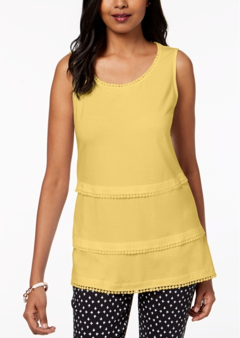 Charter Club Tiered Crochet-Trim Tank Top, Created for Macy's