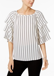 Charter Club Petite Tiered-Sleeve Striped Top, Created for Macy's