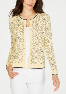 Charter Club Tipped Geo-Patterned Cardigan Sweater, Created for Macy's