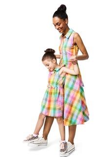 Charter Club Toddler, Little Girls Cotton Rainbow-Plaid Sleeveless Dress, Created for Macy's