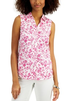 Charter Club Toile-Print Sleeveless Shirt, Created for Macy's