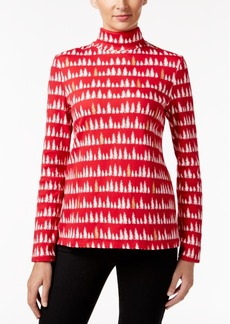 Charter Club Tree-Print Turtleneck Top, Only at Macy's