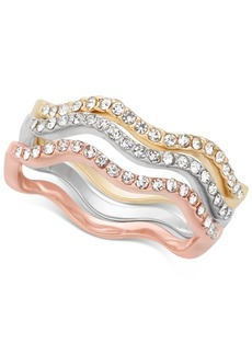 Charter Club Tri-Tone 3-Pc. Set Pave Wavy Rings, Created for Macy's