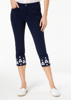 Charter Club Tummy-Control Embroidered Jeans, Created for Macy's