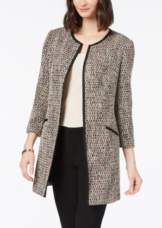 Charter Club Tweed Contrast-Trim Topper Jacket, Created for Macy's