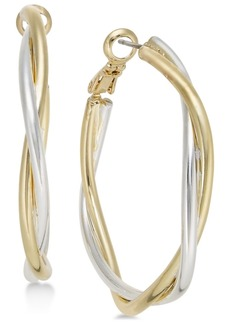 Charter Club Two-Tone Twisted Medium Hoop Earrings, Created for Macy's