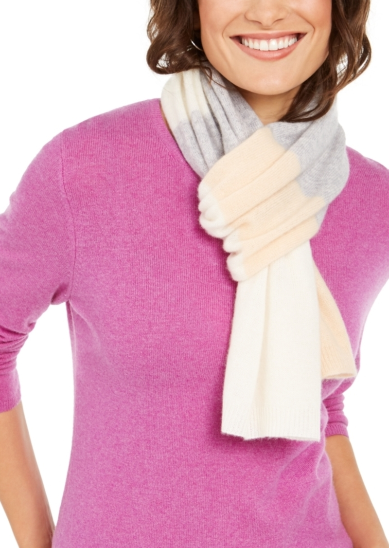 Charter Club Variegated-Stripes Cashmere Scarf, Created For Macy's