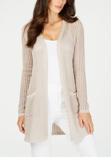 Charter Club Vertical Stripe Metallic Cardigan Sweater, Created for Macy's