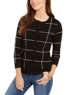 Charter Club Windowpane Button Cardigan, Created for Macy's
