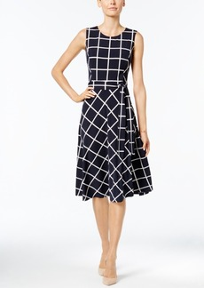 Charter Club Windowpane Fit & Flare Dress, Only at Macy's