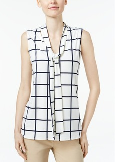Charter Club Windowpane-Print Tie-Neck Top, Only at Macy's