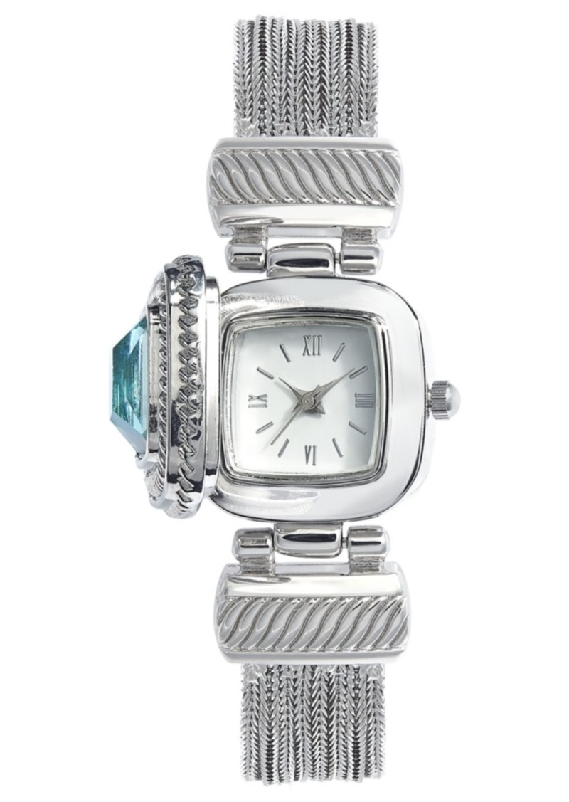 Charter Club Women's Aqua Stone Flip Cover Silver-Tone Bracelet Watch 25mm, Created For Macy's