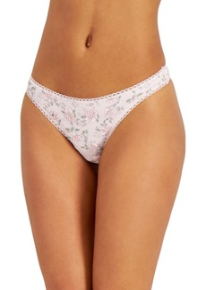 Charter Club Women's Blossoms Pretty Cotton Thong Underwear, Created for Macy's