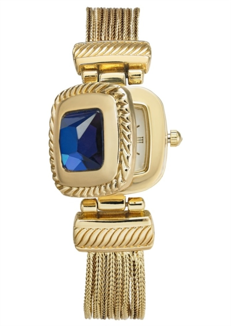Charter Club Women's Gold-Tone Blue Stone Multi-Chain Flip Watch 31mm, Created for Macy's