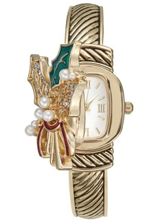 Charter Club Holiday Lane Women's Gold-Tone Holly Bracelet Watch 25mm, Created for Macy's