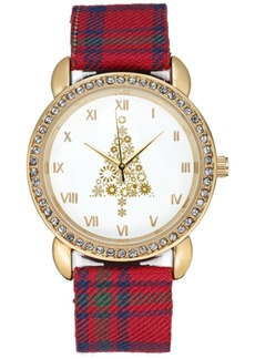Charter Club Holiday Lane Women's Gold-Tone Plaid Strap Watch 34mm, Created for Macy's