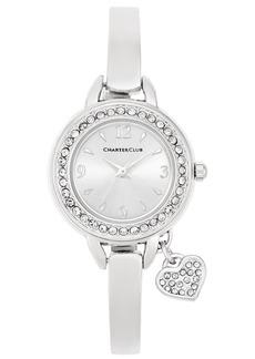 Charter Club Women's Heart Charm Silver-Tone Bangle Bracelet Watch 26mm, Created for Macy's